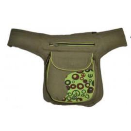 Sac 2 positions : sac banane / sac bandoulière à 3 poches zippées vert