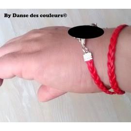 Bracelet tissé en cordon cuir interchangeable - sur mesure
