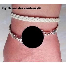 Bracelet tissé en cordon cuir interchangeable