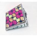 MIROIR carré à Imprimés WAX rose