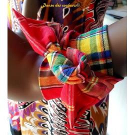 PARURE Boucles et bracelet naturels en coton ethnique bleu