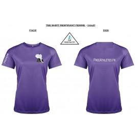 Tee shirt Respirant sport Violet FEMME Personnalisé FREEATHLETES