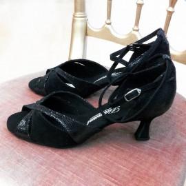 Chaussure danse latine cuir python noir