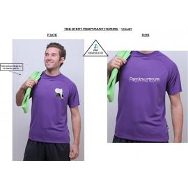 Tee shirt sport RESPIRANT Violet - Homme personnalisé FREEATHLETES