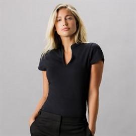 Tee-shirt femme cintré à col V Mao