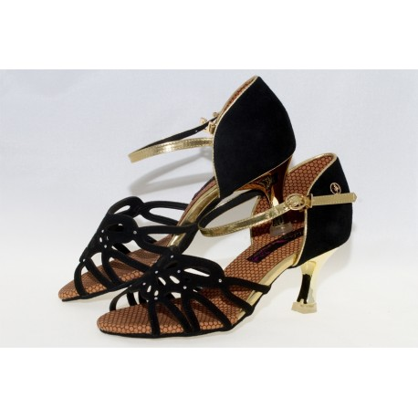 Chaussures Latines ADS REAL DANCE Femme Suédine Or