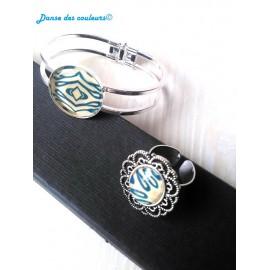 PARURE Baroque : Bracelet et Bague Dentelle assortis lignes bleu turquoise beige