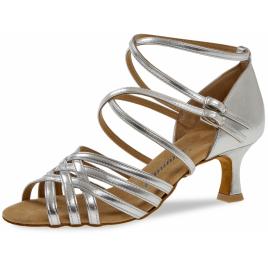 Chaussure latine argent à lanières doubles croisées