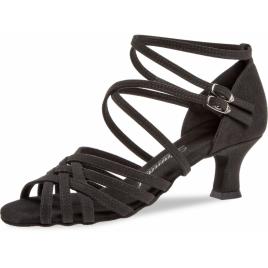 Chaussure danse latine nubuck pour pied fin à lanières doubles croisées