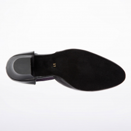 Chaussures danse de salon fermée cuir, bride salomé: EVA MERLET Talon bloc 4,5 cm