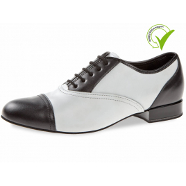 Chaussure de danse homme cuir noir et blanc 077-025-027