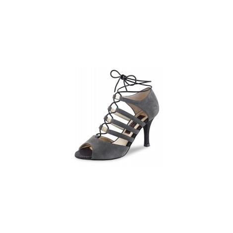 Chaussures danse latine en lanières nubuck gris laçage avant Nueva epoca