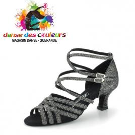 Chaussure danse à lanières gris irisé- DIAMANT