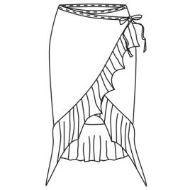 Jupe portefeuille assymétrique lien à nouer - SHEDDO