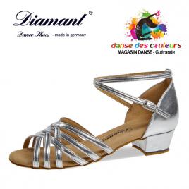 Chaussure de danse argentée à lanières croisées talon bloc 28 mm-DIAMANT