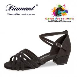 Chaussure de danse Nubuck noir à lanières croisées talon bloc 28 mm - DIAMANT