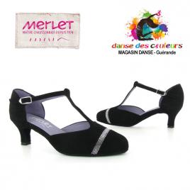Chaussures danse de salon à Strass fermée avec bride salomé - MERLET