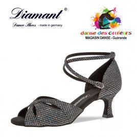 Chaussure latine silver strass hologramme à lanière croisées talon 5cm-DIAMANT
