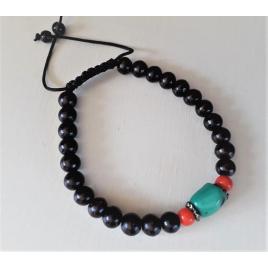 Bracelet ethnique coton et perles