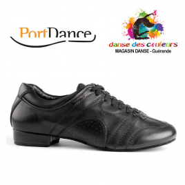Chaussures de Danse PD CASUAL Homme cuir noir Semelle daim- PORTDANCE