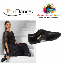 SNEAKERS danse nubuck/sequins noirs - PORTDANCE