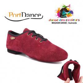 Chaussures de Danse unisexe PDJ001 BORDEAUX nubuck et semelle daim- PORTDANCE