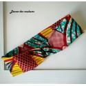 Bandeau Afro pour cheveux en tissu wax: motifs jaune vert fushia