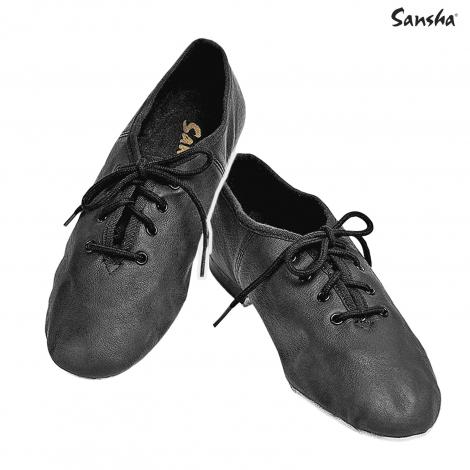Chaussons bi-semelle cuir à lacets jazz Enfant-SANSHA