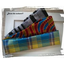 Bandeau Afro pour cheveux en tissu Wax rouge brique jaune/bleu/vert N°2