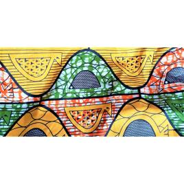 Masque barrière en tissu: volutes rose/ orange/jaune