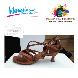 Chaussures latines STrass tan Satin BIANCA-IDS