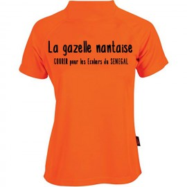 Tee shirt Respirant sport Orange FEMME Personnalisé LA GAZELLE NANTAISE