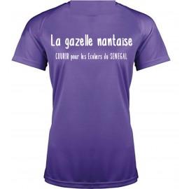 Tee shirt Respirant sport Violet FEMME Personnalisé LA GAZELLE NANTAISE