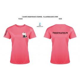 Tee shirt Respirant sport - FLUORESCENT PINK - FEMME Personnalisé FREEATHLETES