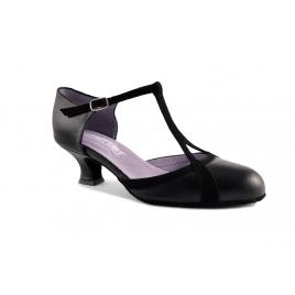 Chaussures danse de salon fermée en cuir et nubuck bride salomé: BETTY-MERLET