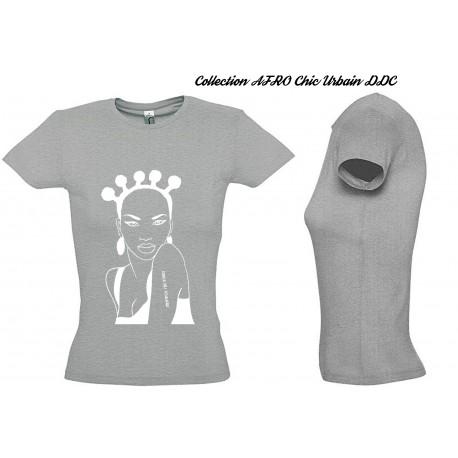 Tee Shirt JERSEY GRIS FEMME Personnalisé : MODE AFRO BROCCOLI