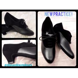 Chaussure de danse practice fermée cuir nubuck noir talon bloc-DIAMANT