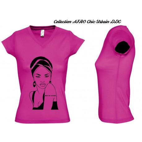 Tee Shirt JERSEY GRIS FEMME Personnalisé MODE AFRO 'Black BROCCOLI'