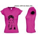 Tee Shirt COL V - JERSEY ROSE FUSHIA FEMME Personnalisé MODE AFRO CHIC