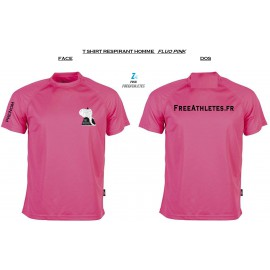 Tee shirt sport RESPIRANT FLUO PINK - Homme personnalisé FREEATHLETES
