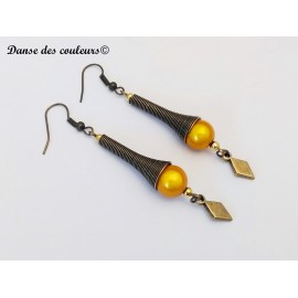 Boucles cône Etnik chic bronze perle irisée moutarde
