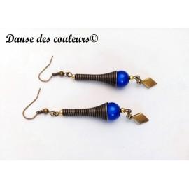 Boucles cône Etnik chic bronze perle irisée bleu marine
