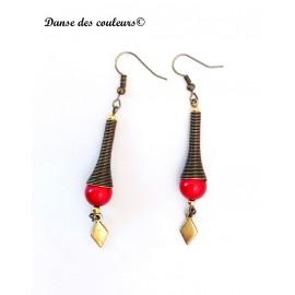 Boucles cône Etnik chic bronze perle rouge irisée