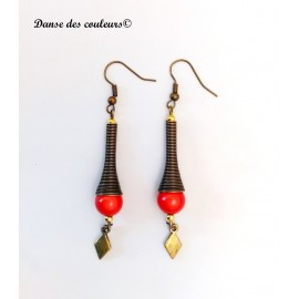 Boucles cône Ethnique chic bronze perle orange irisée