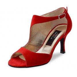 Chaussures danses Latines bottines LINEA Nubuck rouge - NUEVA EPOCA