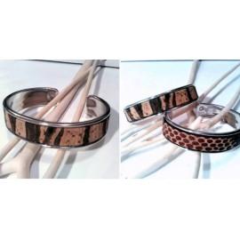 Bracelet jonc argenté en liège - mixte