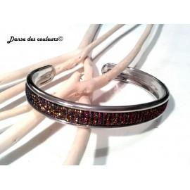 Bracelet Jonc argenté Textile: lanière choco irisée dorée