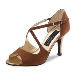 Chaussures danse latine Nubuck beige TESSA - NUEVA EPOCA
