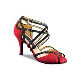 Chaussures de Danse Nubuck rouge et cuir COSIMA - NUEVA EPOCA