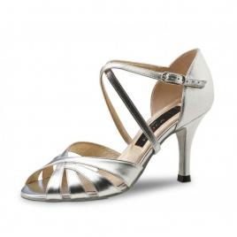 Chaussures de Danse agneau et cuir argenté YOLANDA - NUEVA EPOCA